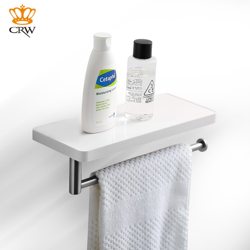 CRW Bathroom Shelf with Towel Bar Wall Mount Toilet Paper Tissue Roller Holder with Storage Shelf for Bathroom ASC03 by CRW