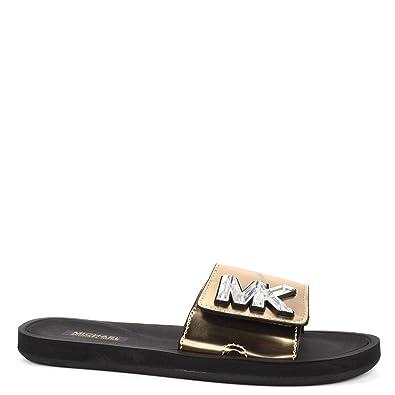 a10d41cf640 Michael Kors Michael by MK Metallic Pale Gold Sandales à Bride en PVC doré,  Sandales pour Femme: Amazon.fr: Chaussures et Sacs