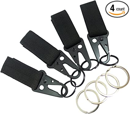 4pcs Tactical Nylon Webbing Hook Keychain Carabiner Nylon Strap Buckle Clip