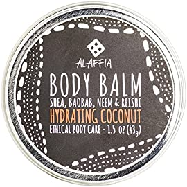 Alaffia -Coconut Reishi - Hydrating Body Balm, 1.5 Ounces 8 100% FAIR TRADE: Feel good about how you are getting your products with 100% Certified Fair Trade Ingredients. COCONUT, REISHI MUSHROOM AND SHEA: Fair trade, sustainable & wildcrafted ingredients from Alaffia cooperatives. FULL BODY BALM: For lips, elbows, hands, hair, cuticles, knees, heels, and beards.