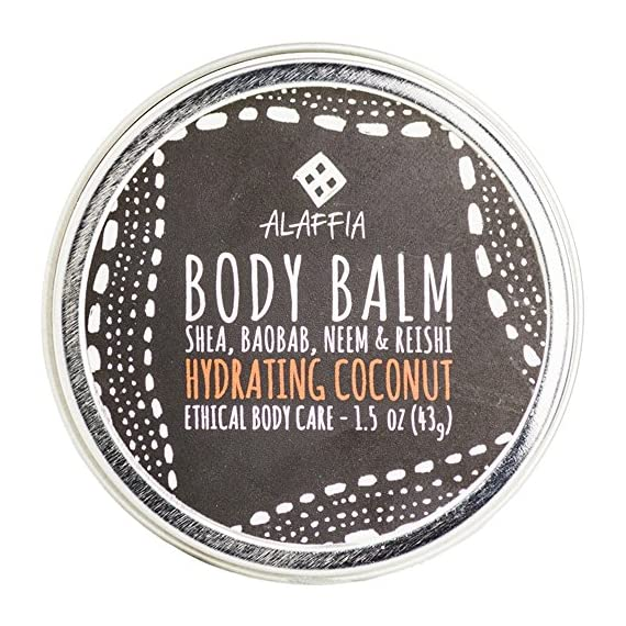 Alaffia -Coconut Reishi - Hydrating Body Balm, 1.5 Ounces 1 100% FAIR TRADE: Feel good about how you are getting your products with 100% Certified Fair Trade Ingredients. COCONUT, REISHI MUSHROOM AND SHEA: Fair trade, sustainable & wildcrafted ingredients from Alaffia cooperatives. FULL BODY BALM: For lips, elbows, hands, hair, cuticles, knees, heels, and beards.