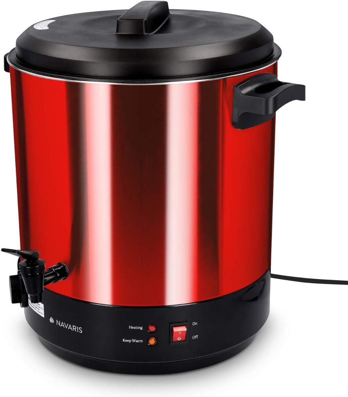 Navaris Macchina per conserva elettrica 1800W Bollitore distributore bevande calde in acciaio inox rosso Pentola conserve 27l con rubinetto