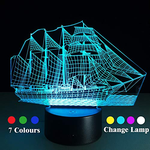 (Youdepot Sailboat 3D led Illusion lamp 7 LED Colors Changing Lighting Night Light,Touch Switch USB Charge Table Desk Bedroom Decoration,Perfect Lighting Gifts for Boys Girls Kids Baby Friends)