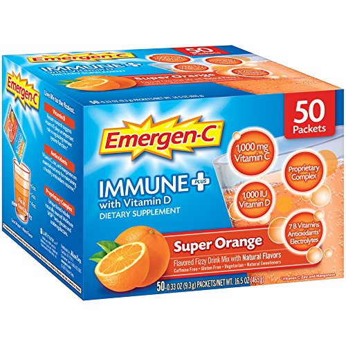 Emergen-C Immune+ (50 Count, Super Orange Flavor) System Support Dietary Supplement Fizzy Drink Mix with Vitamin D, 1000mg Vitamin C Plus Antioxidants & Electrolytes, 0.33 Ounce Powder Packets
