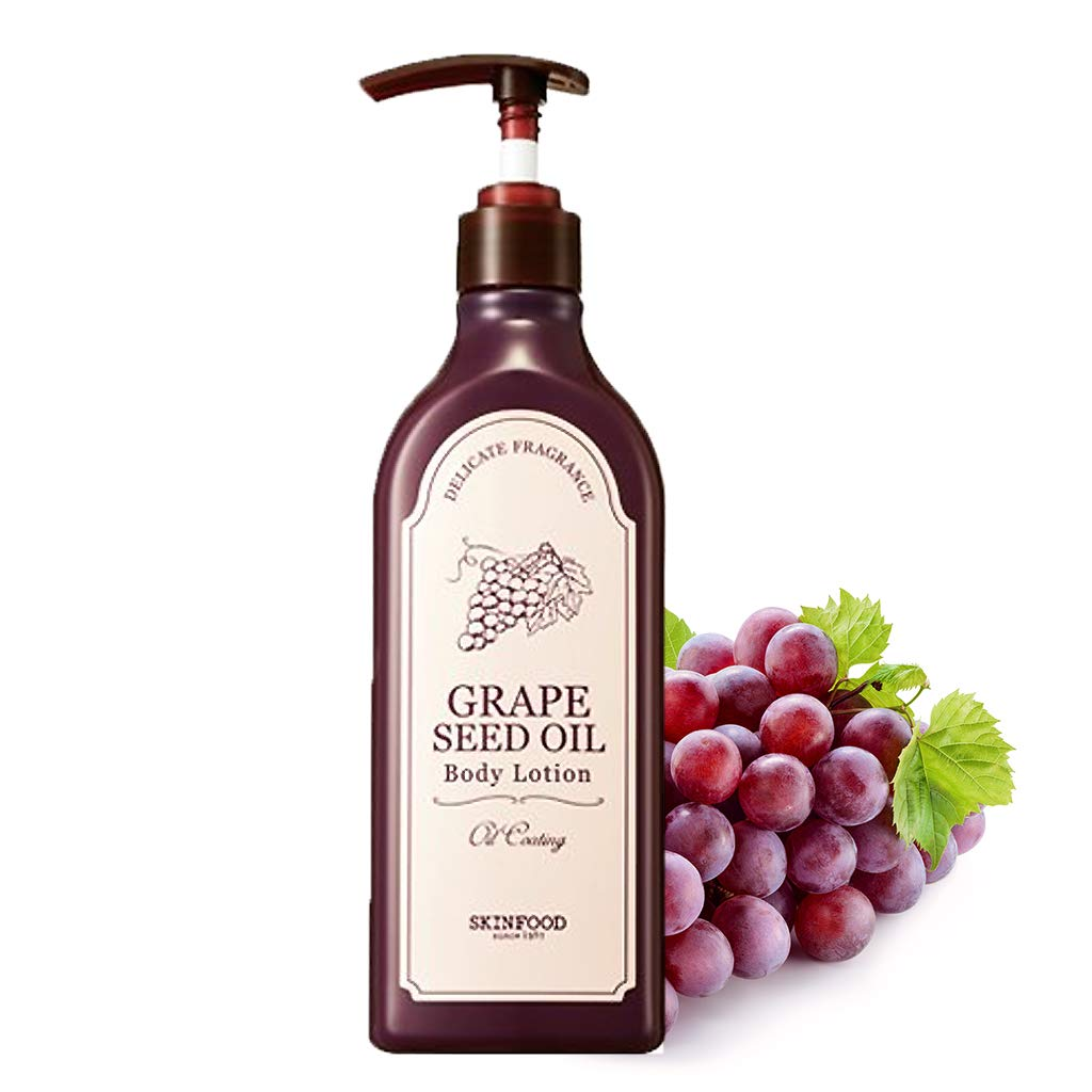 SKINFOOD Grape Seed Oil Body Lotion 11.3 fl.oz. (335ml) - Nutrient Rich Grape Seed Oil and Wine Extract Contained, Skin Hydrating and Soft Complexion