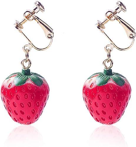 Strawberry Clip Earrings Studs