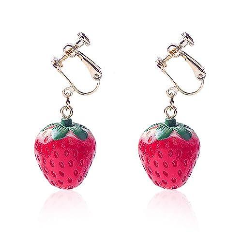 Women Fruit Drop Dangle Earrings Red Strawberry Hook Clip on Earrings 1 Pair