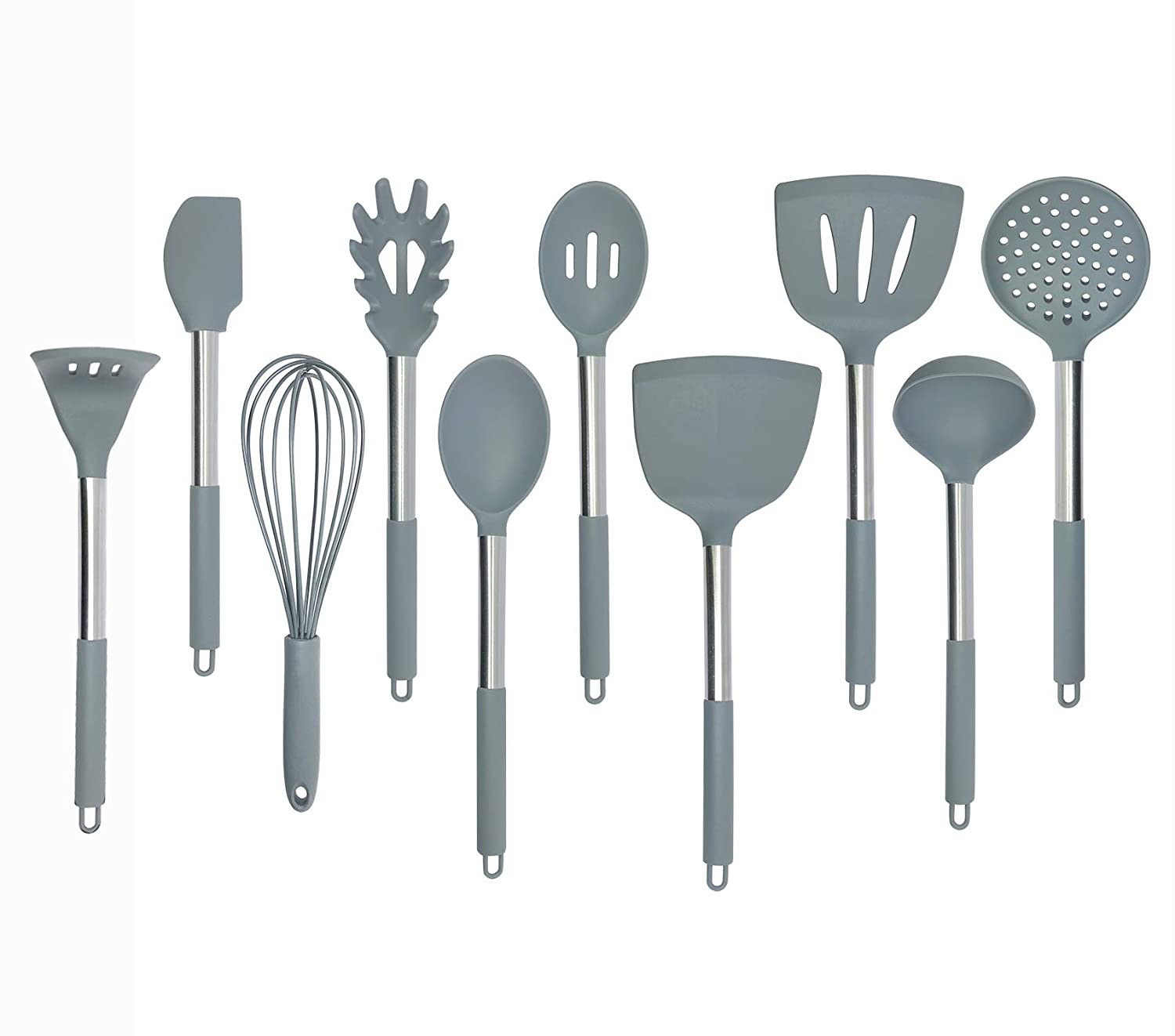 Kitchen Silicone Utensil Set Nylon Core and Stainless Steel Handle Coat with Silicone for Non Stick Cookware Baking Cooking Utensil Tools Set of 10 Grey ZAHUODIAN