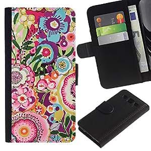 LASTONE PHONE CASE / Lujo Billetera de Cuero Caso del tirón Titular de la tarjeta Flip Carcasa Funda para Samsung Galaxy S3 III I9300 / Art Pattern Vintage Summer