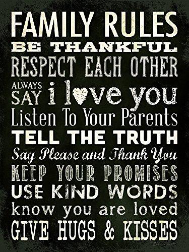 Family Rules Black 12x16 Inspirational Art Thankful Kisses P