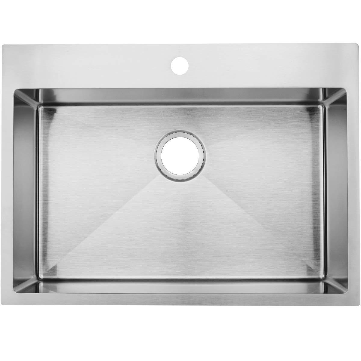 Commercial 28 Inch 16 Gauge Top mount Drop-in Single Bowl Basin Handmade T304 Stainless Steel Kitchen Sink, 10 Inch Deep Brushed Nickel Kitchen Sinks