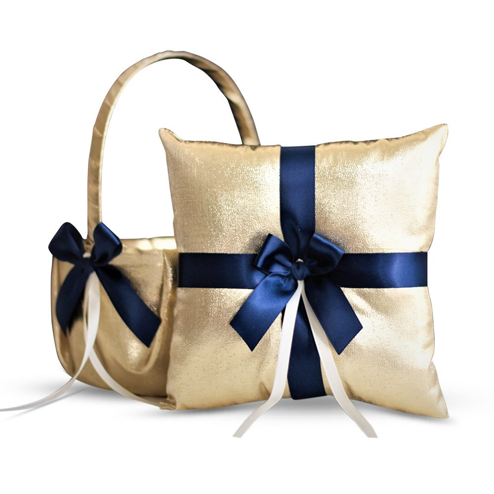 RomanStore Gold & Navy Blue Wedding Ring Bearer Pillow and Flower Girl Basket Set - Satin & Ribbons - Pairs Well with Most Dresses & Themes - Splendour Every Wedding Deserves
