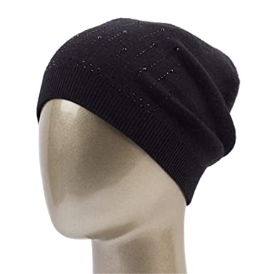 bec519462921c Image Unavailable. Image not available for. Color  Women S Cashmere  Rhinestone Beanie Hat Winter Casual Knit Casual