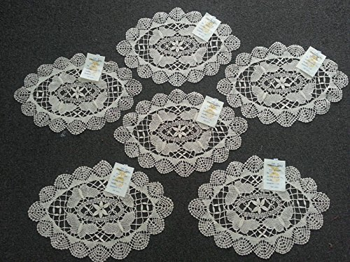 Butterfly Lace Reversible Oval Table Placemats Doilies Handmade Vintage