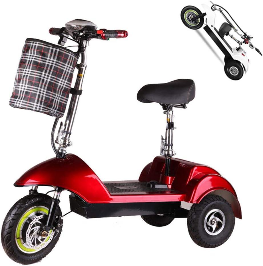 Triciclo eléctrico adulto,150 kg Carga máxima,Movilidad eléctrica de Triciclo Plegable y portátil Ciclomotor eléctrico con 3 ruedas,,batería de Litio 350W 36V 10AH con luz LED y Pantalla HD,Rojo
