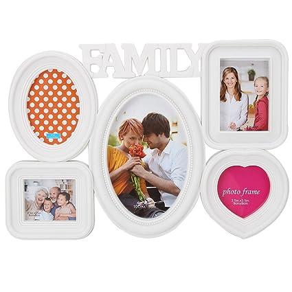 merssavo familia 5 en 1 Combinación pared cuadro top Marcos para Fotos, color blanco