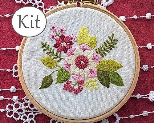 kit de broderie traditionnelle ,Fleurs roses