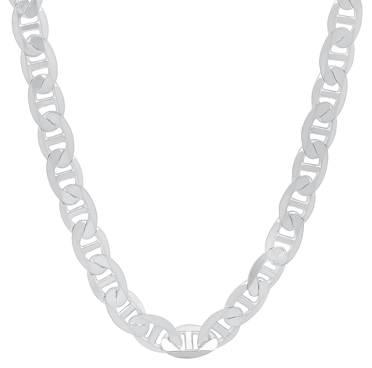5.3mm 925 Sterling Silver Nickel-Free Flat Mariner Link Italian Chain, 20'' + Bonus Polishing Cloth