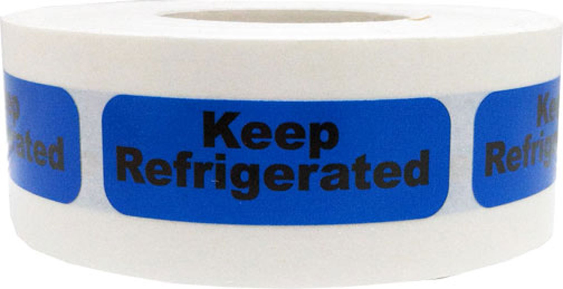 Blue with Black Keep Refrigerated Stickers, 0.5 x 1.5 Inches in Size, 500 Labels on a Roll