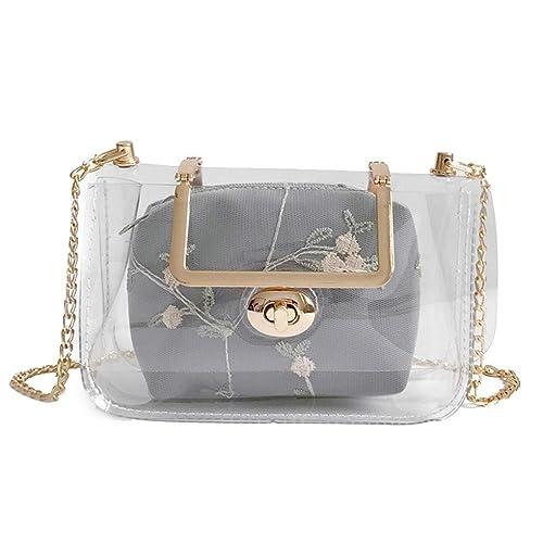 Women Summer Laser Transparent Shoulder Crossbody Bag Simple Shopping Tote  Bag by-NEWONESUN  Handbags  Amazon.com 74f423823a6b0