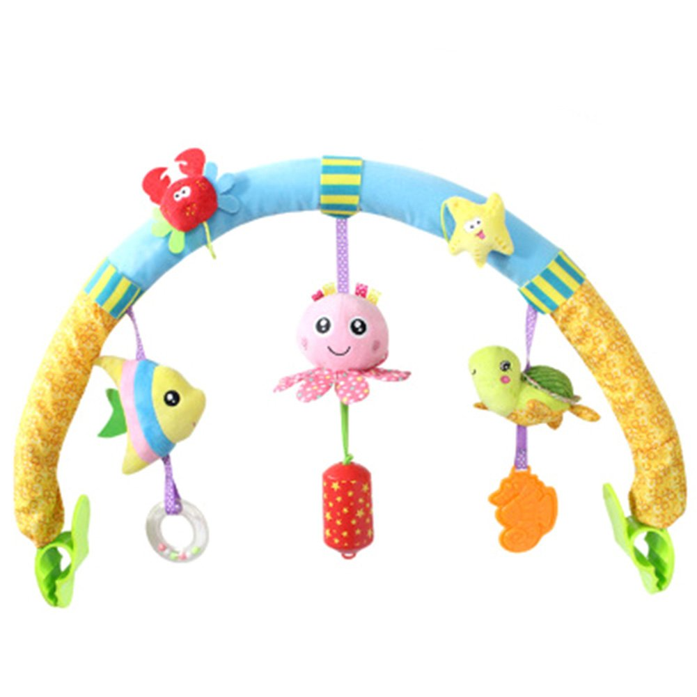 GBaoY Baby Plush Toys With Music Crib Stroller Soft Toys Crib Accessory Cloth Animmal Toy and Pram Activity Bar with Rattle Teethers Ocean Animal
