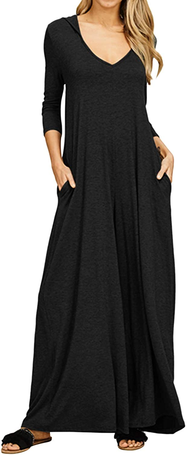 Jacansi Womens Summer V Neck Long/Short Sleeve Maxi Long Hoodie Dresses with Pockets