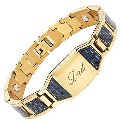 076cf84b14ae1 Willis Judd Mens Two Tone DAD Titanium Magnetic Bracelet with Blue ...