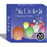 Sky Delight Memory Paper Chinese Sky Flying Floating Lantern, Pack of 20, Assorted