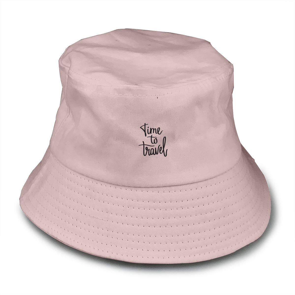 NDFGR Time to Travel Unisex Cotton Packable Black Travel Bucket Hat Fishing Cap