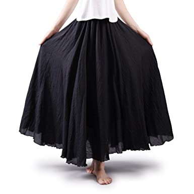 2a7014aa90a28 Women s Bohemian Style Elastic Waist Band Cotton Long Maxi Skirt Dress  Black 105CM Length