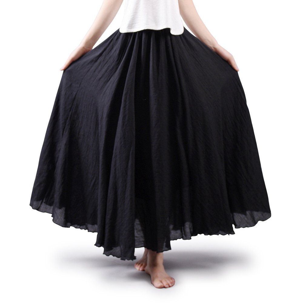 OCHENTA Women's Elastic Waist Flowing Bohemian Cotton Long Maxi Skirt Black 85CM Length