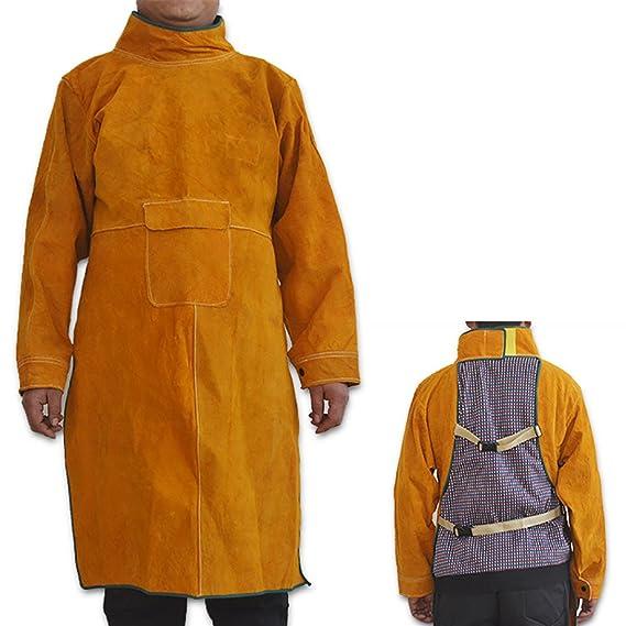 NUZAMAS Delantal de soldadura Anti-llama de piel de vaca de abrigo largo Ropa protectora Ropa Traje de soldador Durable Leather Protección Extra 102cm: ...