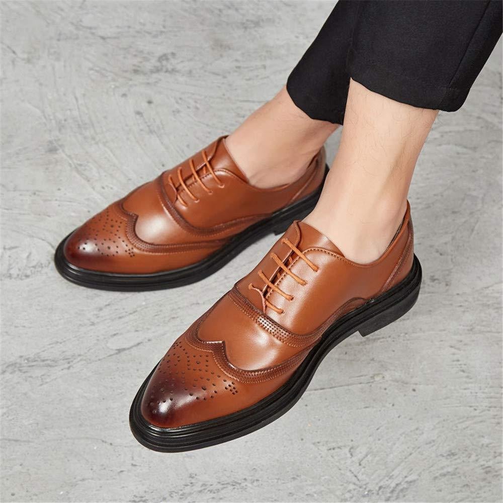 Xujw-schuhe, 2018 Oxford Schuhe Herren Herren Business Oxford 2018 Schuhe, Lässige Mode Retro Pinsel Farbe Klassische Outsole Brogue Schuhe (Farbe : Rot, Größe : 44 EU) Gelb f5ff7f