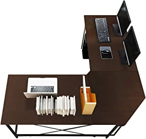 sogesfurniture Large L-Shaped Desk 59 x 59 inches Corner Table Computer Desk Workstation Desk PC Laptop Office Desk L Desk,Black BHUS-LD-Z01-BK