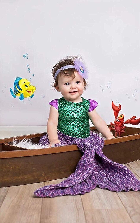 Baby Girls Swimsuit Green Fish Scale Mermaid Ruffles Sleeve One-Piece Swimwear Bathing Suit