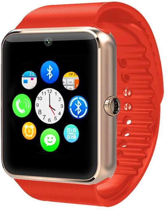 Smart Watch ZOMTOP GT08 Touch Screen Bluetooth Wristwatch with Camera/SIM Card Slot/Pedometer Analysis/Sleep Monitoring for Android (Full Functions) and iOS (Partial Functions)(Golden+Orange)