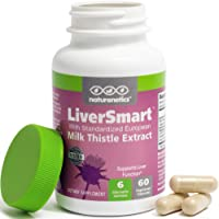 LiverSmart - Milk Thistle Liver Cleanse & Support Supplement - 145mg Silymarin - 6 Antioxidant Ingredients to Protect…
