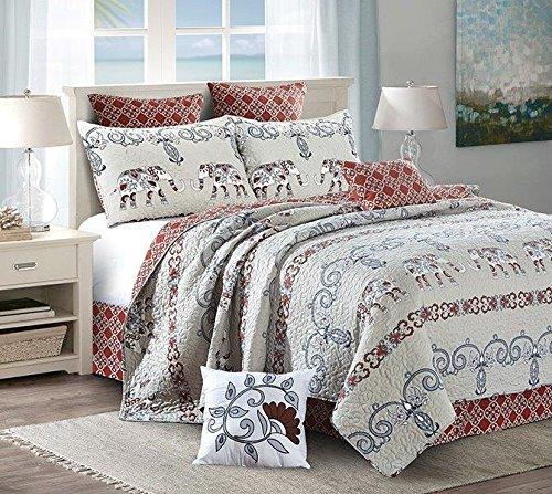 Virah Bella Reversible Beige Elephant and Red Motif 5 Piece Quilt,Sham, and Throw Pillow Set (Queen / Full)