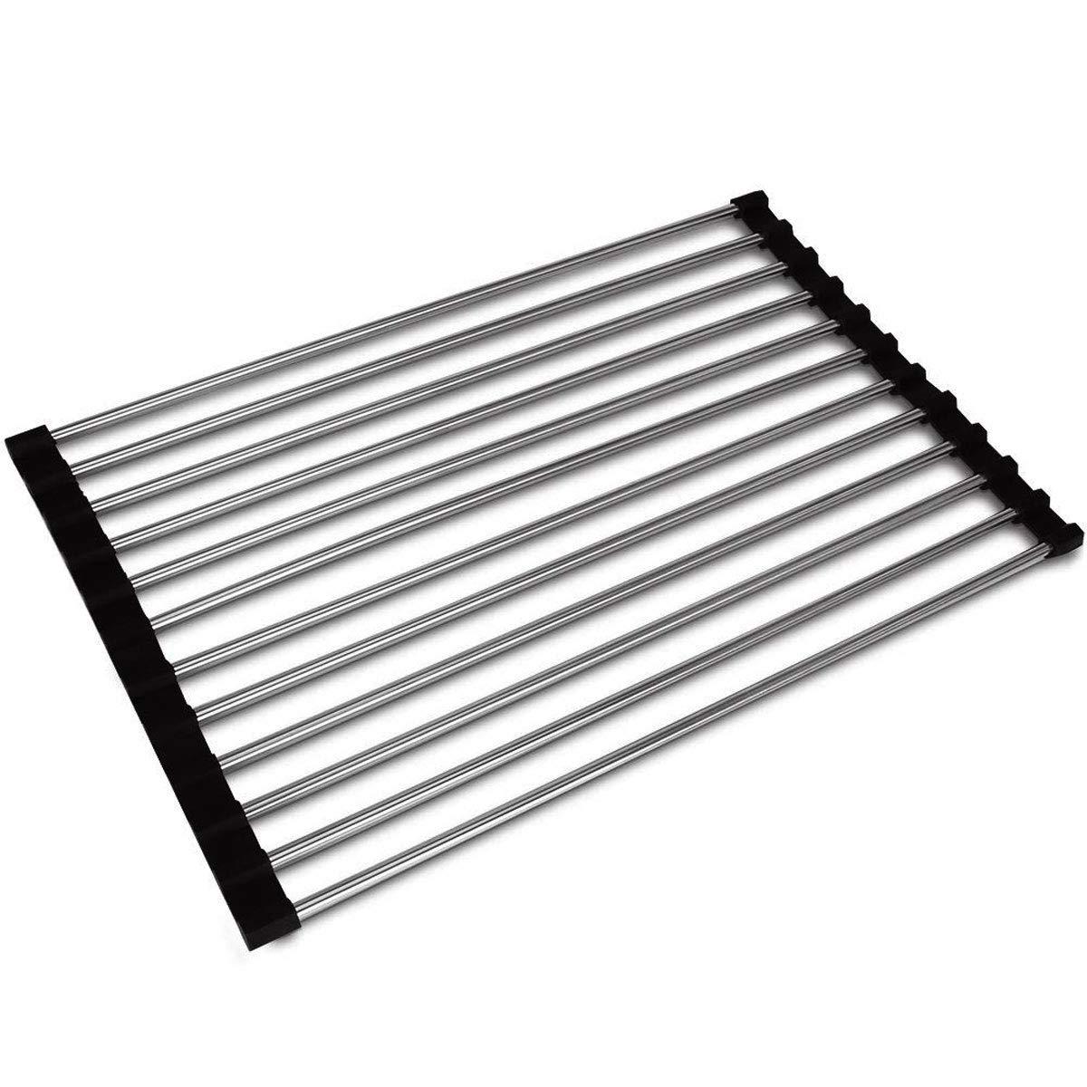 DEBEME Escurreplatos Enrollable Multiusos Plegable de Acero Inoxidable para Fregadero Color Negro escurreplatos de Cocina