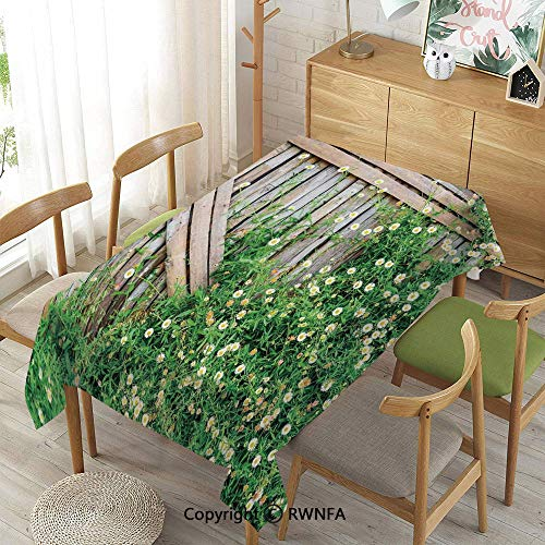 Wipe Clean Tablecloth for Rectangle Tables,Bamboo Fence Covered by Ivy Daisy Flower Blooms Chamomile Petals Picture,Waterproof Wrinkle Resistant,Green Light Brown,55