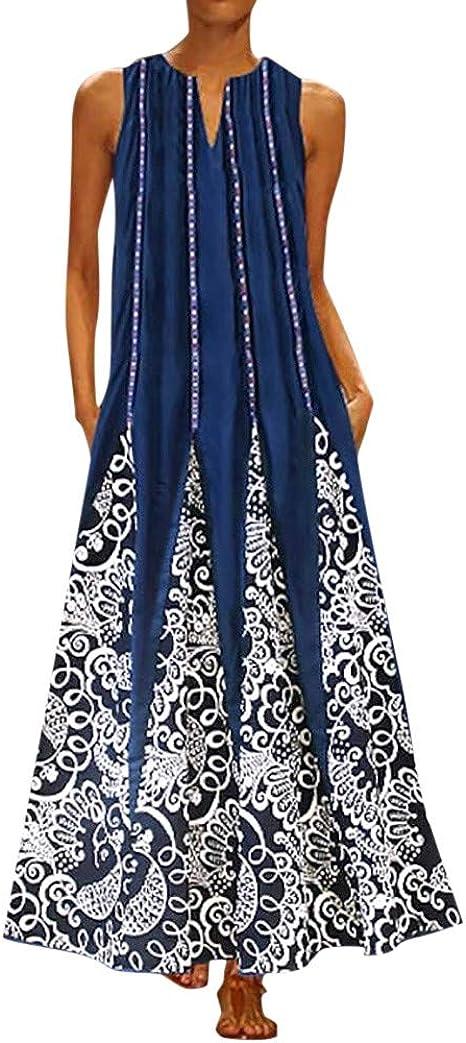 Chanyuhui Casual Summer Dresses for Women Floral Print Tunic Tank Dresses Pleated Vest Dress Boho Beach Sundress