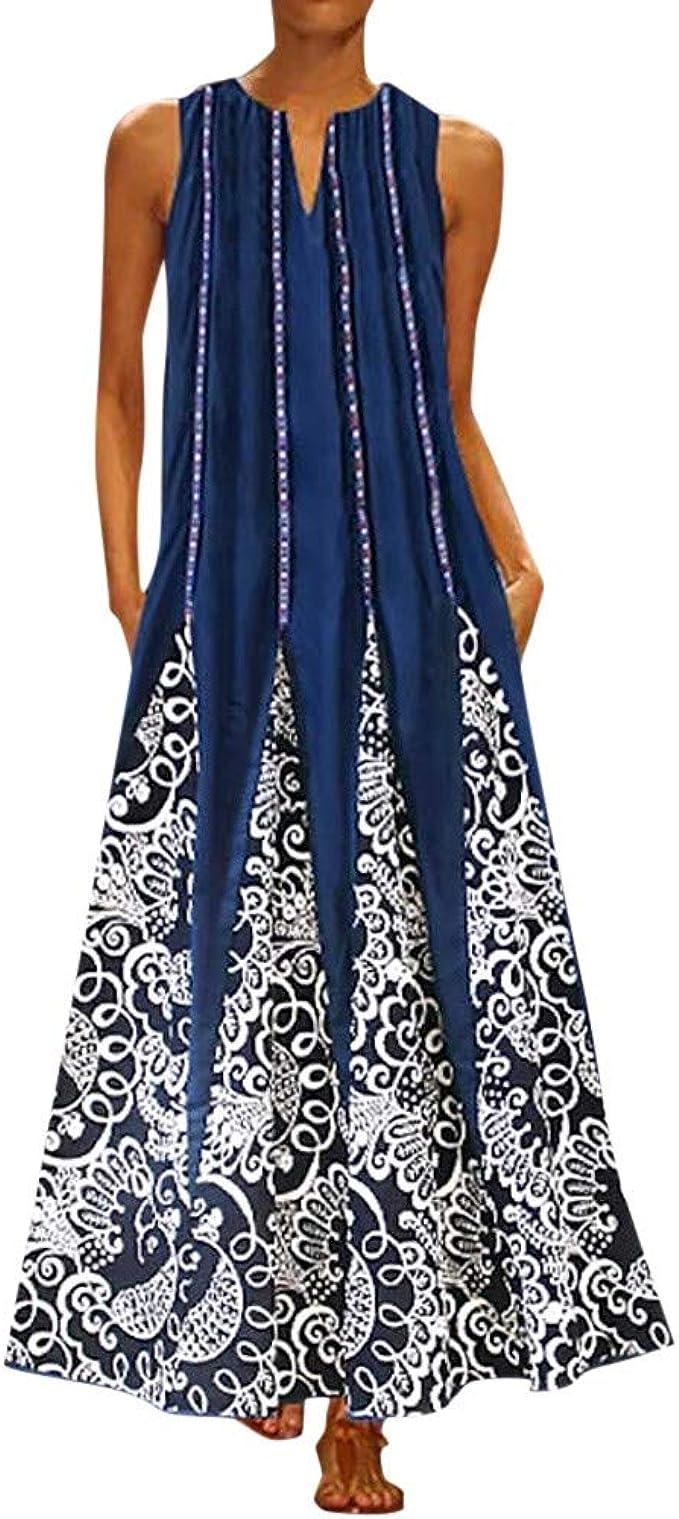 Lulupi Freizeitkleider für Damen,Frauen Sommerkleid Beiläufig Ärmellos  V-Ausschnitt Blumendruck Tank Langes Kleid Kleider Plus Size Casual  Gestreifte
