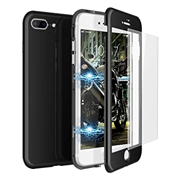 CE-Link Funda iPhone 7 Plus Funda iPhone 8 Plus y Cristal Templado iPhone 7 Plus/iPhone 8 Plus Carcasa 360 Grados 3 en 1 Magnética Macaron Case ...