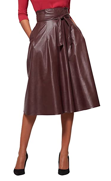 56cb2a8d9 Lolichy Women's Burgundy Paperbag-Waist Black Faux-Leather A line Midi Skirt  with Side