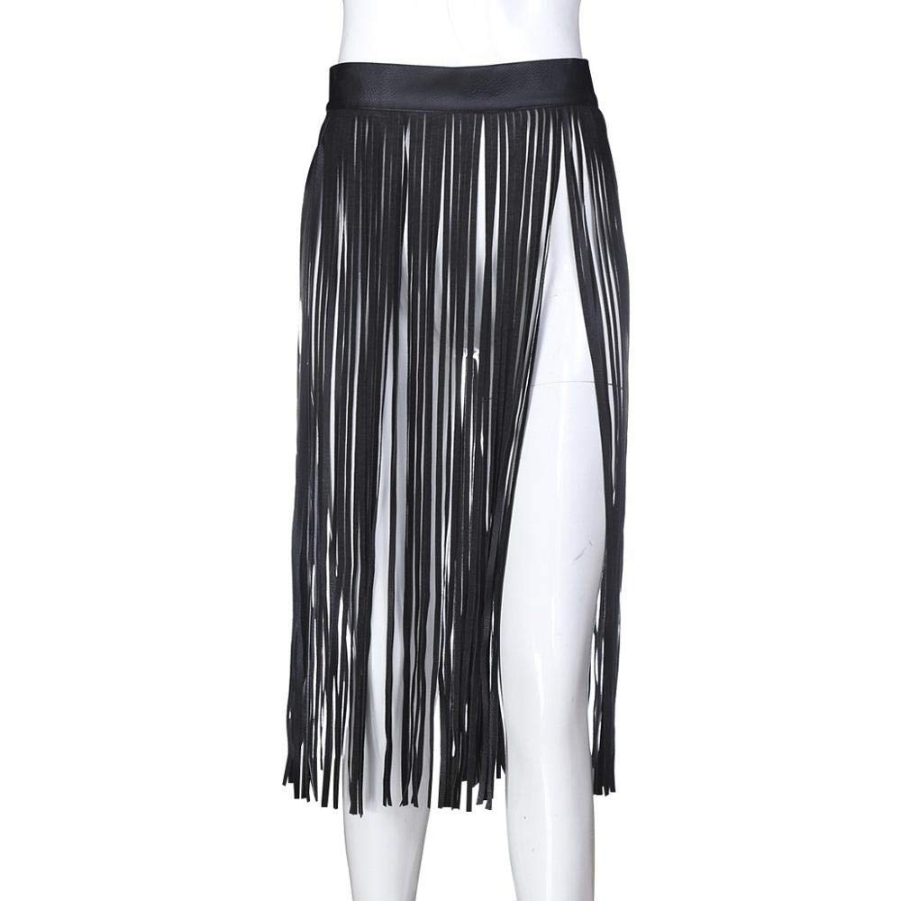 Sex Goods Leather Tied Clothes Black White Fringed Skirt Alternative Adult Clothes