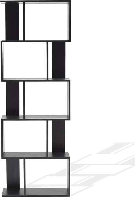 Rebecca Mobili Estantería Oficina, Estante para Libros Negro, con 5 Estantes, Design Contemporáneo, Muebles para El Hogar - Medidas: 169 x 60 x 24 cm ...