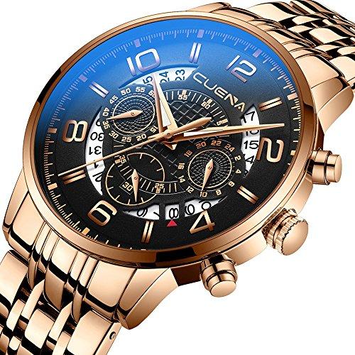 Waterproof Quartz Stainless Steel Wristwatches Men's Elegance Chronograph Sport Watch