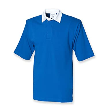 6eb578d7f03 Front Row Short Sleeve Rugby Shirt in Royal Size S: Amazon.co.uk: Clothing