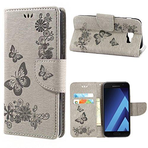 Funda Samsung Galaxy A3 2017, MSK® Funda [Flor Mariposa Gofrado] Billetera Carcasas Para Samsung Galaxy A3 2017 Smartphone Bumper Funda - Púrpura Gris