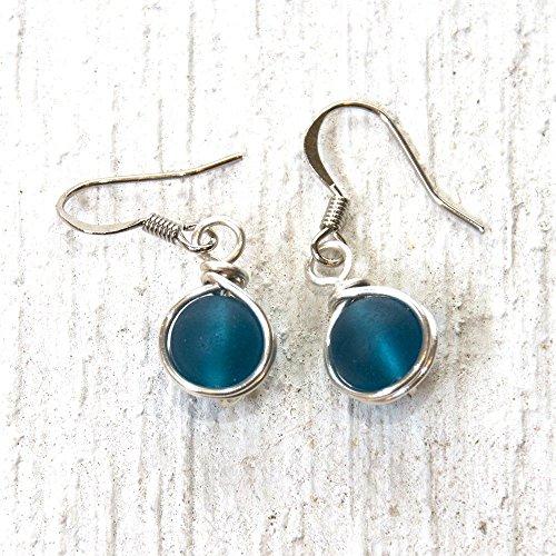 Dark Teal Blue Beach Glass Bead Drop Earrings - Beach Wear Handmade Wire Wrapped Jewelry